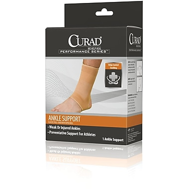 Curad® Open Heel Ankle Supports, Beige Color, Medium Size, Retail Packaging, 4/Pack