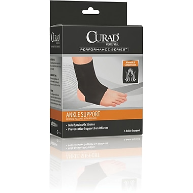 Curad® Neoprene  Open Heel Ankle Supports, Black Color, Medium Size, Each