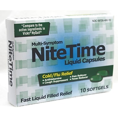 Nightime Cold/Flu Liquid Capsules, 10 Capsules/Box