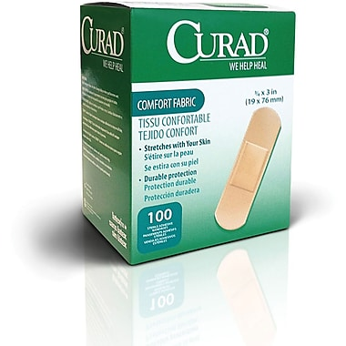 Curad® Flex-Fabric™ Adhesive Bandages, Natural, 3in. L x 3/4in. W, 100 Bandages/Box, 12 Boxes/Cas
