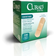"Curad® Flex-Fabric™ Adhesive Bandages, Natural, 3"" L x 1"" W, 100 Bandages/Box, 12 Boxes/Case"