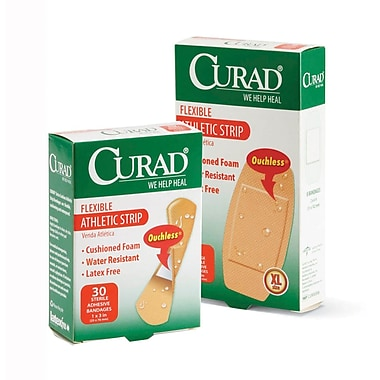 Curad® Athletic Strips, Tan, 3in. L x 1in. W, 30 Bandages/Box, 24 Boxes/Case