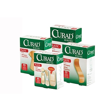 Curad® Sheer-Gard® Adhesive Bandages, Natural, 3in. L x 1in. W, 100/Box, 100 Bandages/Box, 12 Boxes/Case