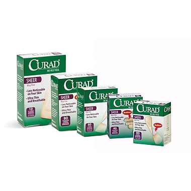 Curad® Adhesive Bandages, Sheer, Assorted, 40 Bandages/Box, 24 Boxes/Case