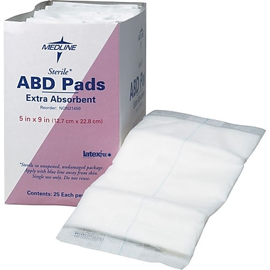 Medline Sterile Abdominal Pads, 7 1/2in. L x 8in. W