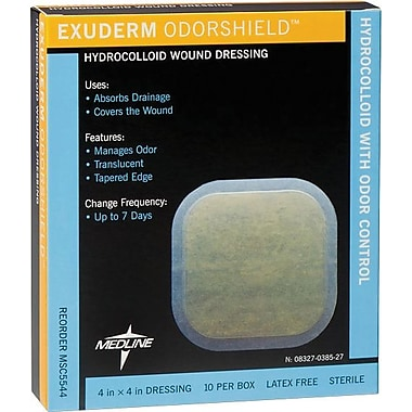 Exuderm® Odorshield Hydrocolloid Dressings, 4in. L x 4in. W  , 10/Box