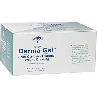 Derma-Gel® Dressing Hydrogel Sheets, 4in. L x 4in. W, 25/Box