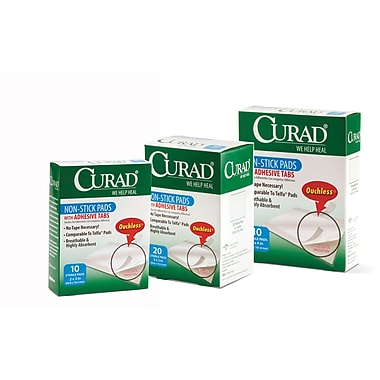 Curad® Non-stick Adhesive Pads, 3in. L x 2in. W, 12/Pack, 10/Box