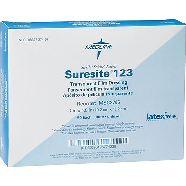 Suresite® 123 Transparent dressings, 4 4/5in. L x 4in. W, 200/Pack