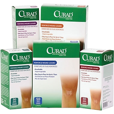 Curad® Medi-Strips® Sterile Reinforced Wound Closure Strips, 4in. L x 1/4in. W, 2000/Pack