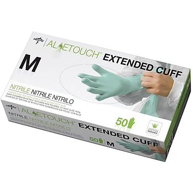 Aloetouch® Extended Cuff Chemo Nitrile Exam Gloves, Green, Medium, 12in. L, 50/Box