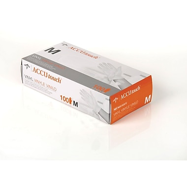 Accutouch® Powder-free Latex-free Synthetic Vinyl Exam Gloves, Clear, Medium, 9in. L, 100/Box