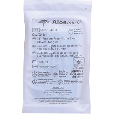 Aloetouch® Powder-free Latex-free Nitrile Exam Gloves, Green, Medium, 12in. L, 400/Pack