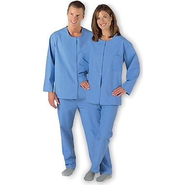 Medline Snap Pajama Tops, Light Blue, Large
