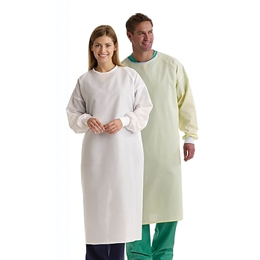 Medline Unisex Isolation Gowns, White, OSFM, White Polyeste Knit Cuffs Wrist, Dozen