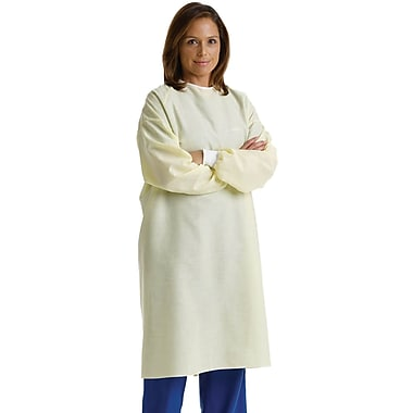 Medline Unisex Isolation Gowns, Yellow, OSFM, White Polyeste Knit Cuffs Wrist, 12/Dozen, 72/Pack