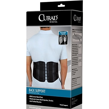 Curad® Back Support with Dual-pulley System, Black, Small/Medium, 28in. - 36in. L x 10in. H, 4/Pack