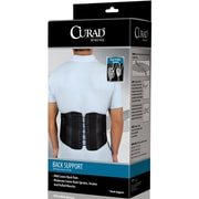 "Curad® Back Support with Dual-pulley System, Black, Large/XL, 37"" - 44"" L x 10"" H, 4/Pack"