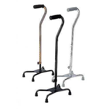 Medline Large Base Aluminum Quad Cane, Black, 2/Pack