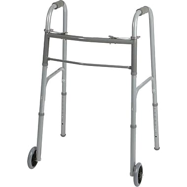Medline Basic Two-button Folding Walker with 5in. Wheels, Adult, 32in. - 38in. H, 4/Pack