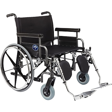 Medline Excel Shuttle Wheelchair, 26in. W x 20in. D Seat, Removable Desk Length Arm, Elevating Leg