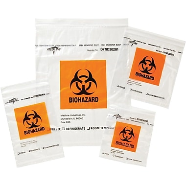Medline Zip-Style Biohazard Specimen Bags, 9in. L x 6in. W, 100/Pack