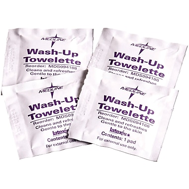 Medline Wash-up Towelettes, 7 1/2in. x 4 1/2in. Size, 100/Box