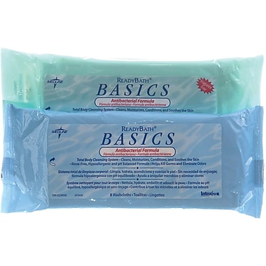 ReadyBath® Basics Antibacterial Washcloths, Fragrance free, 30/Pack