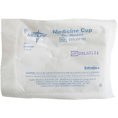 Medline Sterile Graduated Plastic Medicine Cups,  2 oz, 100/Pack