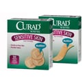 Curad® Sensitive Skin Bandages, Tan, 2 1/2in. L x 3/4in. W, 30 Bandages/Box, 24 Boxes/Case