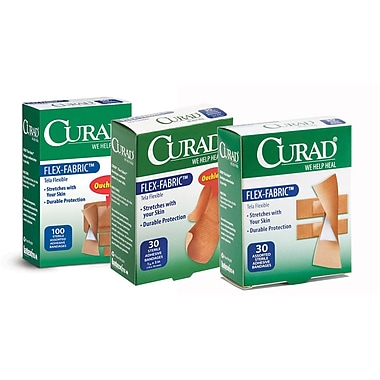 Curad® Flex-Fabric™ Adhesive Bandages, Brown, 3
