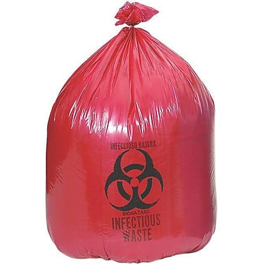 Medline Biohazard Liners, 40-45/gal, 40in. L x 46in. W, Red, 100/Pack