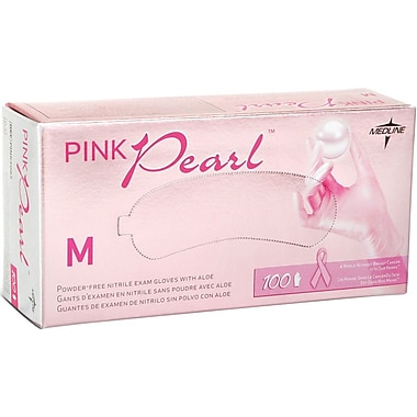 Generation Pink Pearl® Powder-free Nitrile Exam Gloves, Pink, Medium, 9in. L, 100/Box