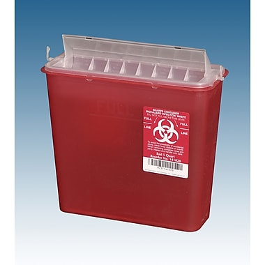 Plasti-Products Sharps Containers with Counterbalanced Lid, 5 qt, 20/Pack