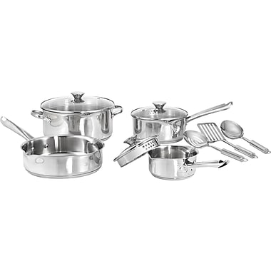 WearEver Cook and Strain 10-Piece Cookware Set, Stainless Steel