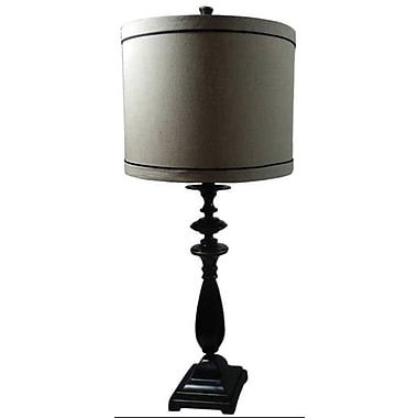 Fangio Metal Table Lamp in Black Finish w/ Cream Linen Modified Drum Shade