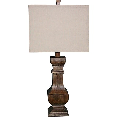 Fangio Resin Table Lamp in Antique Beige Finish w/ Square Parchment Linen Shade