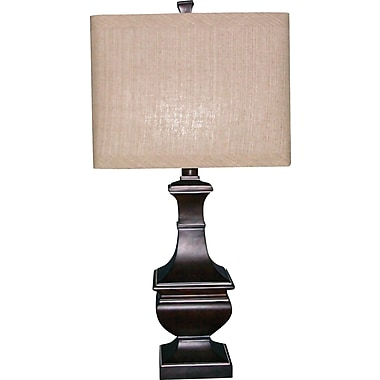Fangio Resin Table Lamp in Antique Brown Finish w/ Square Parchment Linen Shade