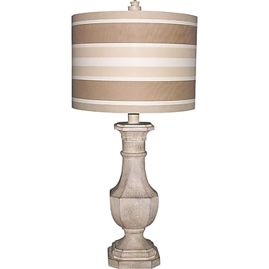 Fangio Resin Table Lamp in Antique White Finish w/ Cream & Tan Striped Linen Drum Shade