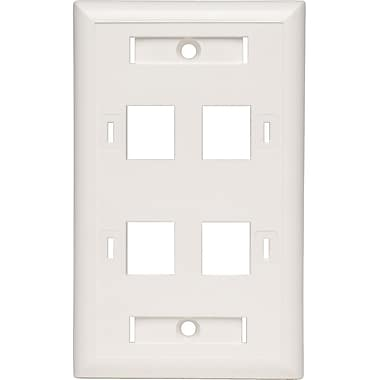 Tripp Lite® N042-001-04 Keystone White Faceplate, 4 Ports