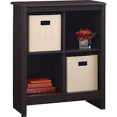 Ameriwood Carson 4-Cube Storage Organizer Bookcase, Dark Roast