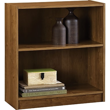 Staples Hayden 2-Shelf Laminate Bookcase, Amber Grain