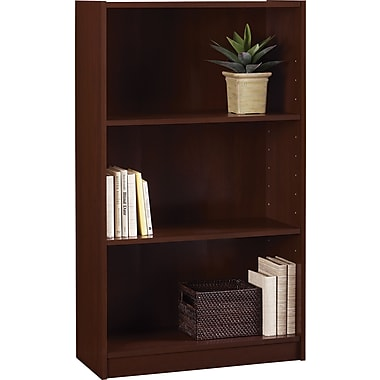 Staples Hayden Laminate Bookcase, 3-shelf, Hilton Cherry
