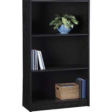 Staples Hayden Laminate Bookcase, 3-shelf, Midnight Onyx