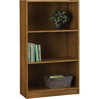 Staples Hayden 3-Shelf Laminate Bookcase, Amber Grain