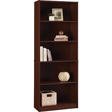 Staples Hayden Laminate Bookcase, 5-shelf, Hilton Cherry