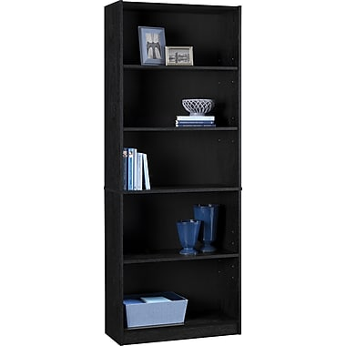Staples Hayden Laminate Bookcase, 5-shelf, Midnight Onyx