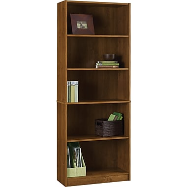 Staples Hayden 5-Shelf Laminate Bookcase, Amber Grain