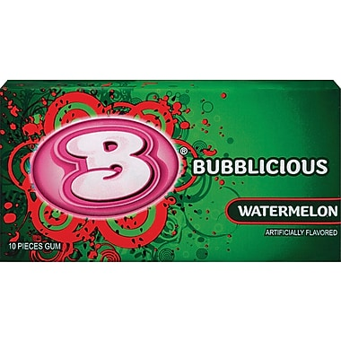 Bubblicious Bubble Gum, Watermelon, 10-Piece Packs, 12 Packs/Box