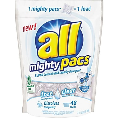 all HE Mighty Pacs 4X Concentrated Laundry Detergent Pacs, Free & Clear, 48 Ct.